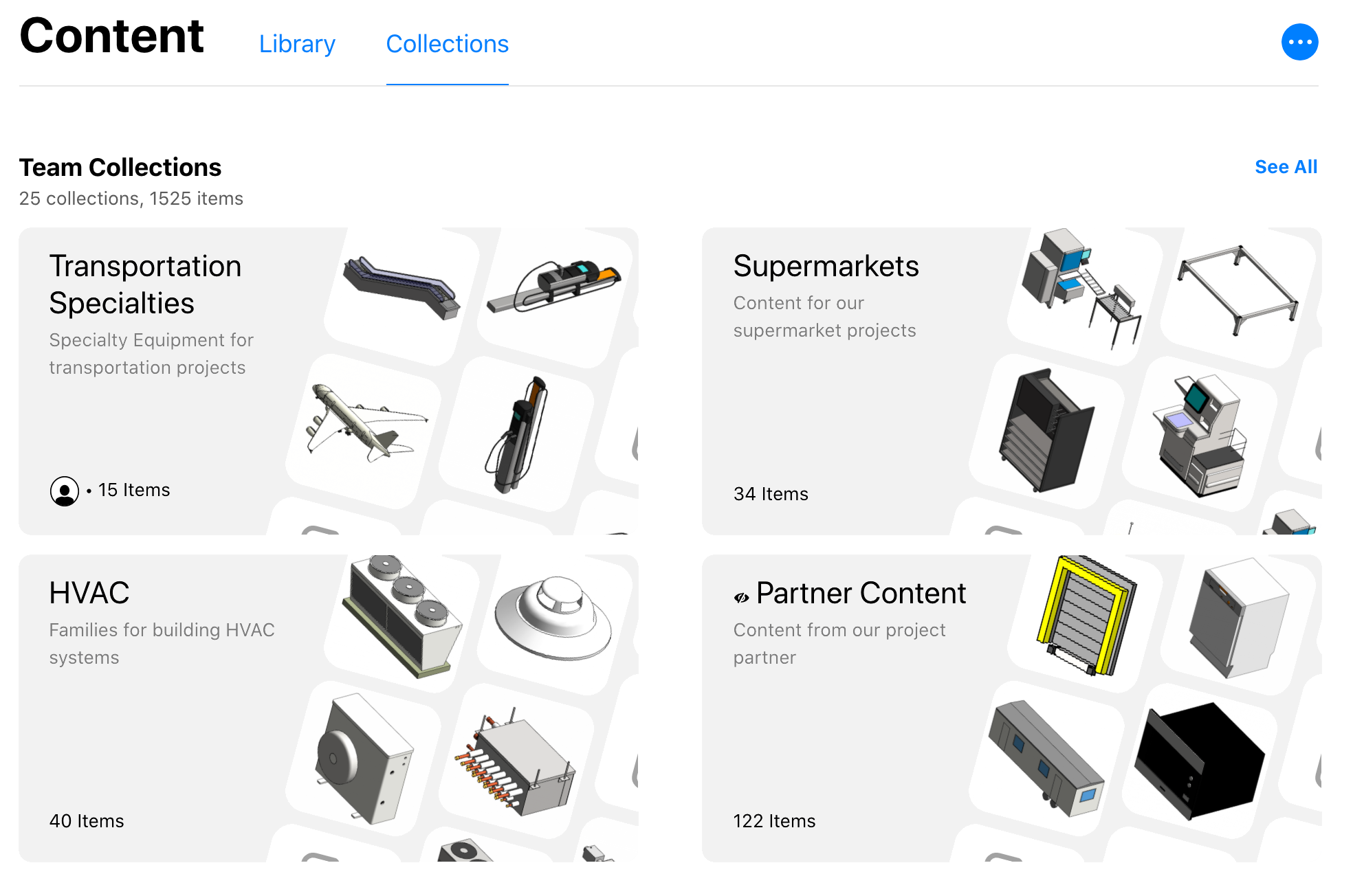 New Collections landing page showing the most recently updated Team collections.