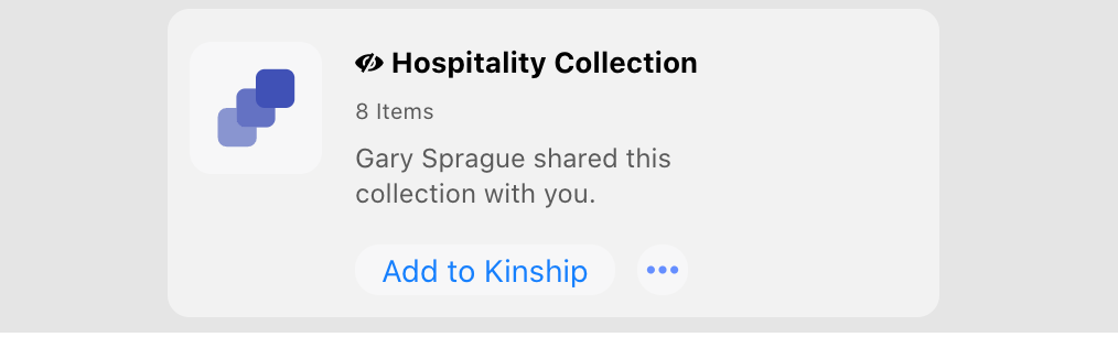Notification of a new shared collection available to add to your account.