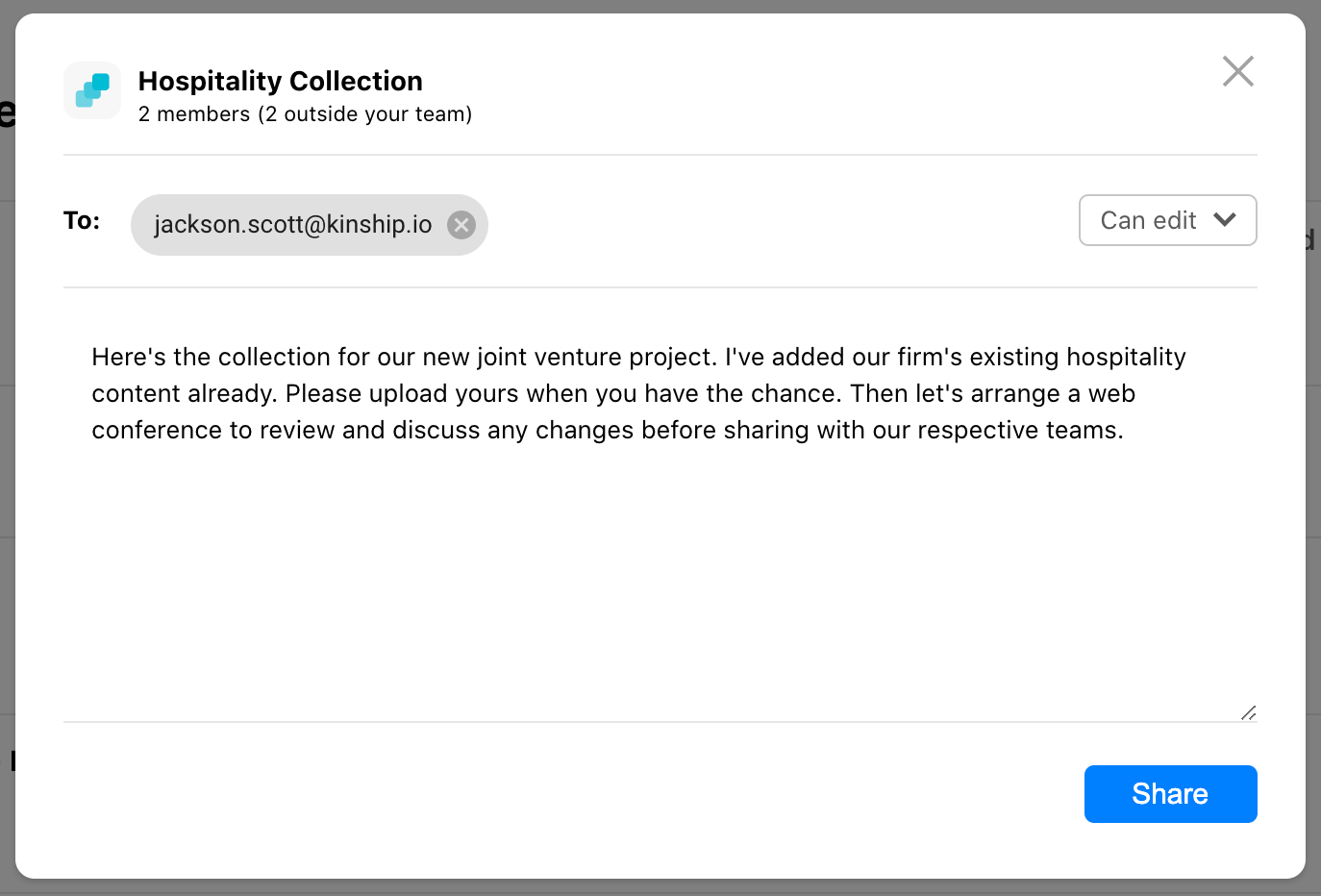 Share dialog with dropdown for recipient permissions and optional notification message.