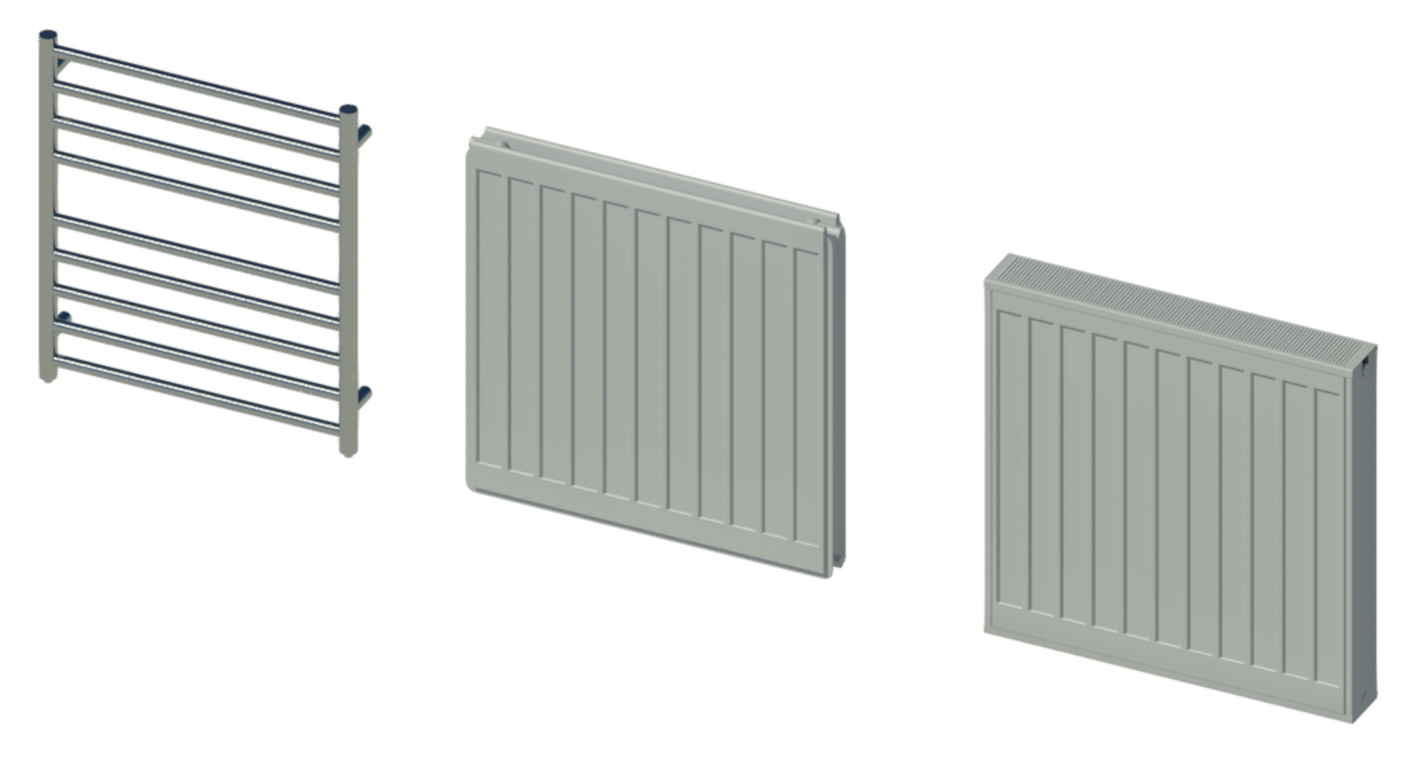 Raytrace showing DQ Heating towel rail and radiators from Myson and Stelrad.