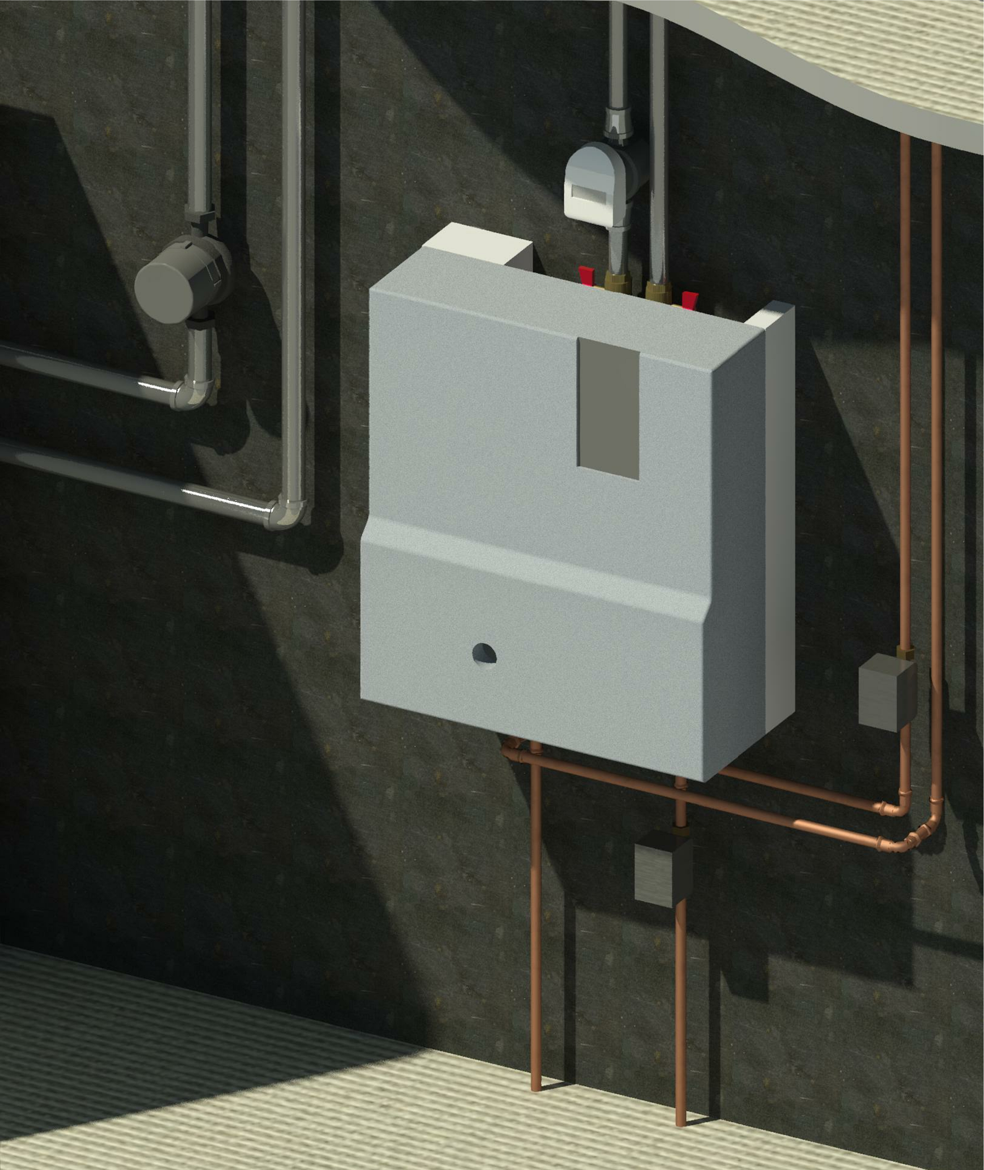 Rendering showing HIU with heat meter and zone valves.