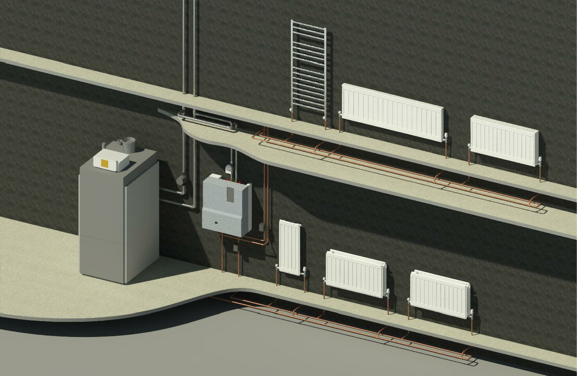 Rendering of complete central heating system showing all families with connected pipework.