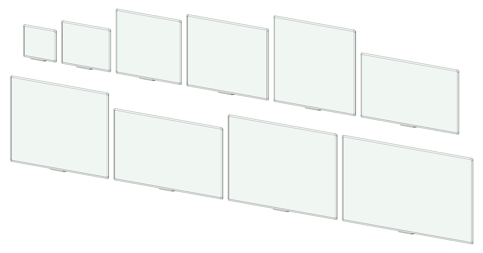 3D image showing whiteboards.