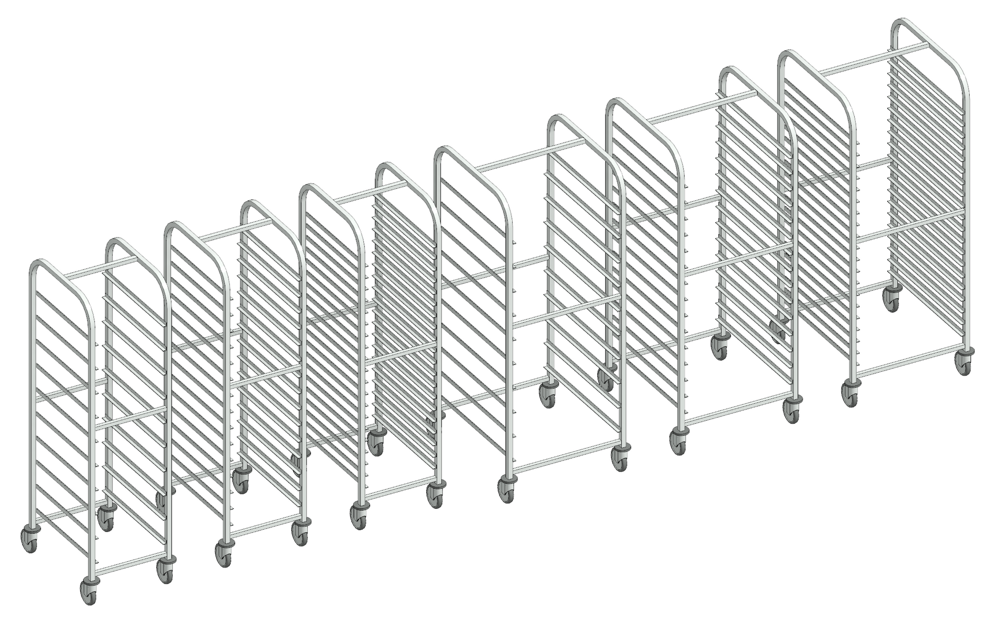 Revit family of mobile tray storage racks from Merlin Industrial Products.