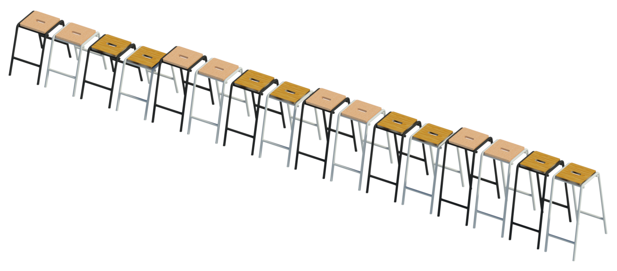 3D image showing high stool Revit family types.