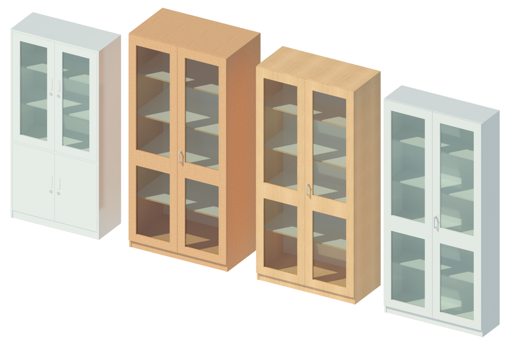 3D rendering showing storage cabinets.