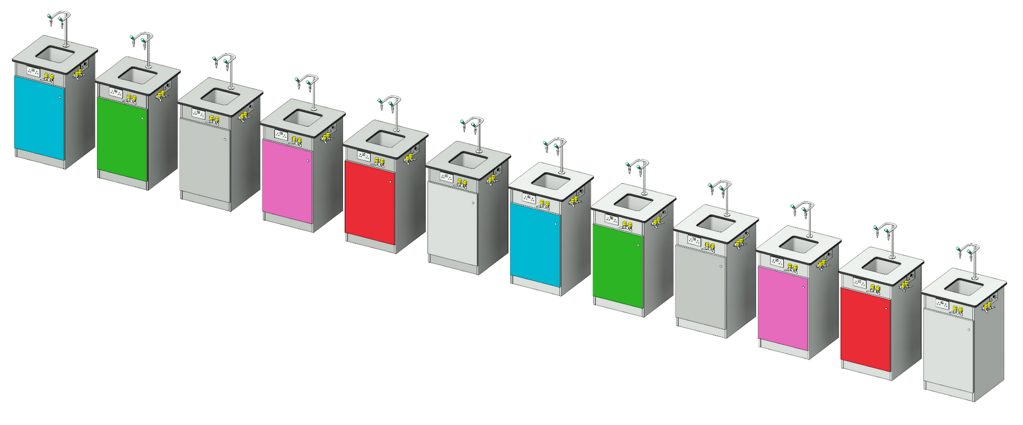 3D image showing service bollard material variations.