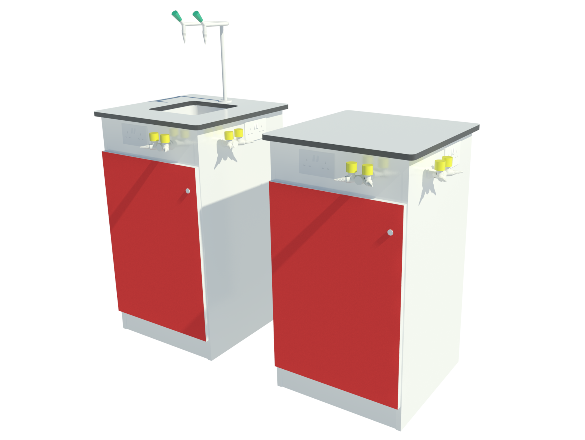 3D rendering showing service bollards with and without sink.