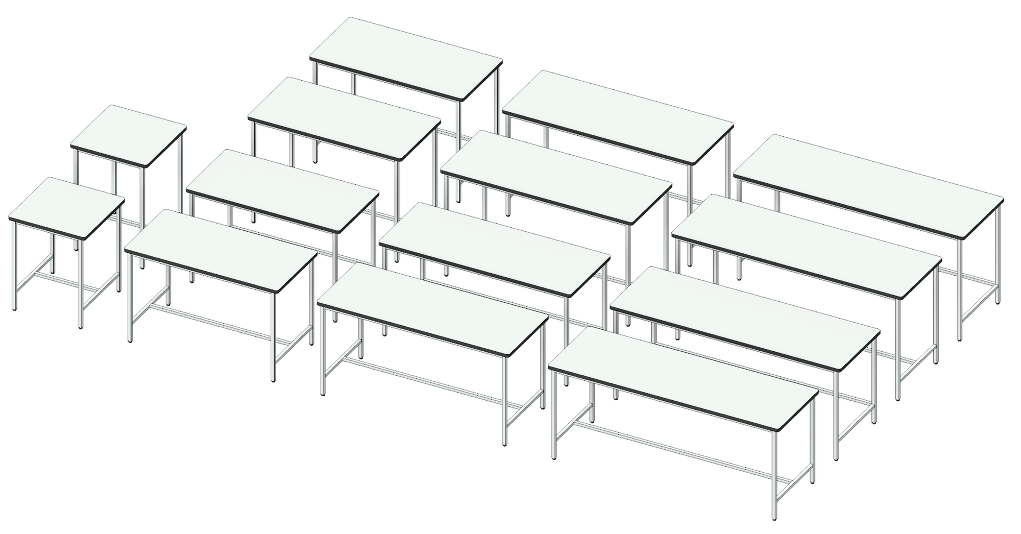 3D image showing white table top variations for H-frame table Revit family.