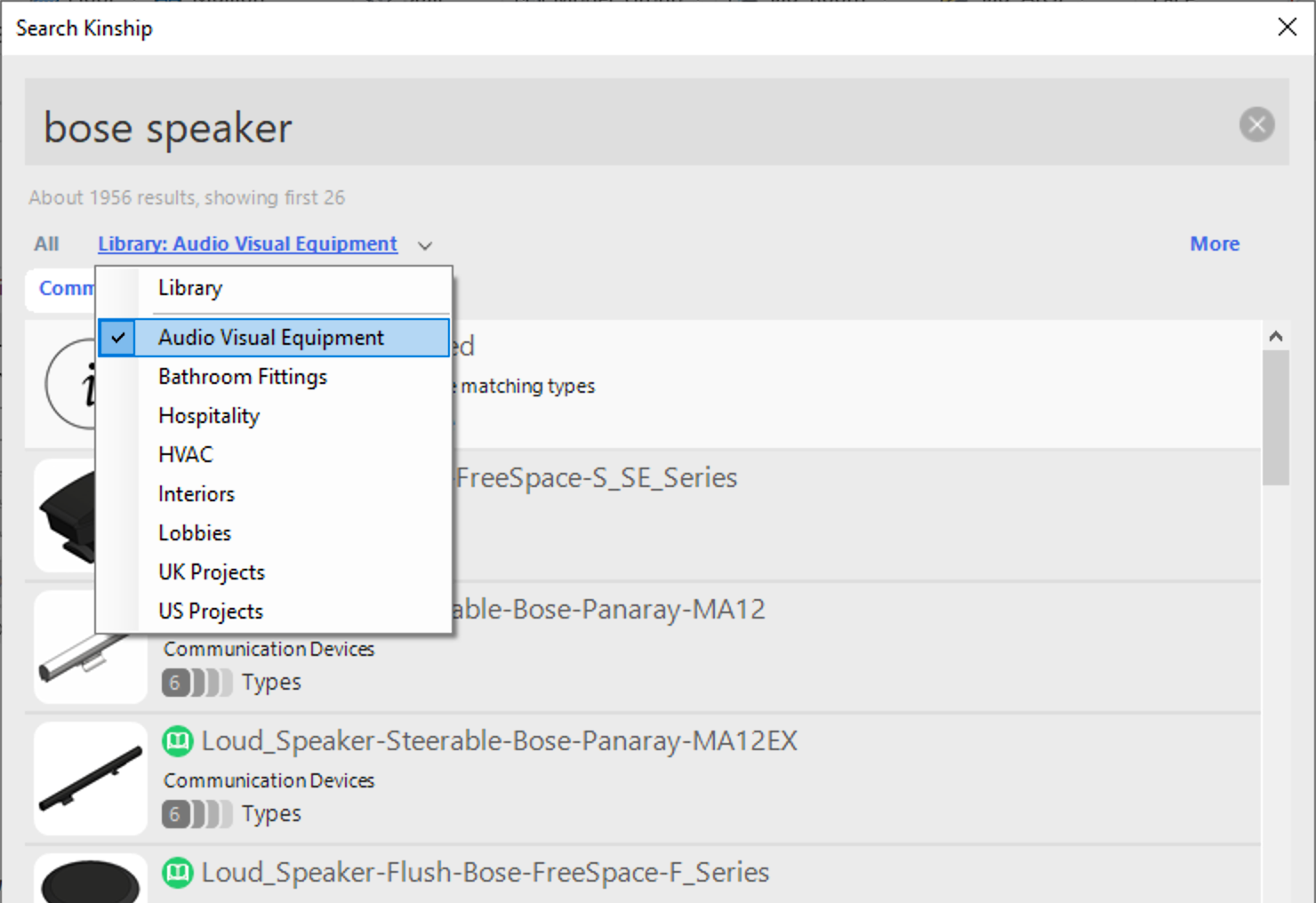 Kinship search in Revit showing the new Lists filter on the Library tab.