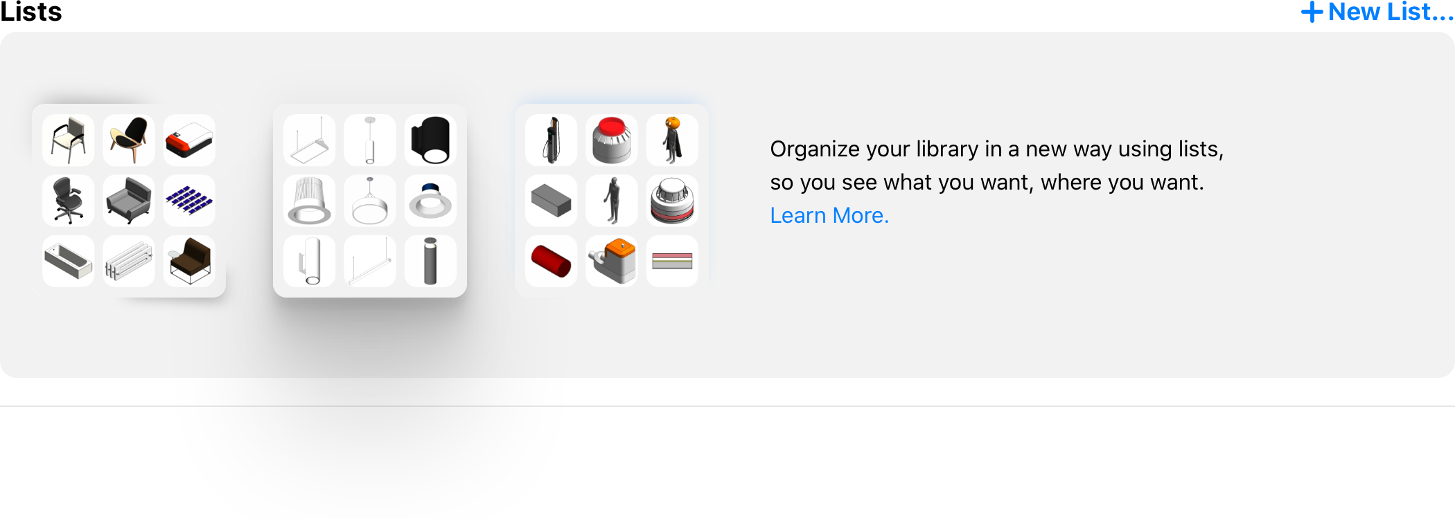 New Lists section on the Library landing page.