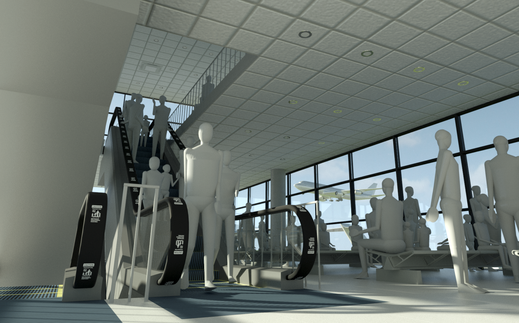 Revit rendering showing escalator and Andy in airport scene.