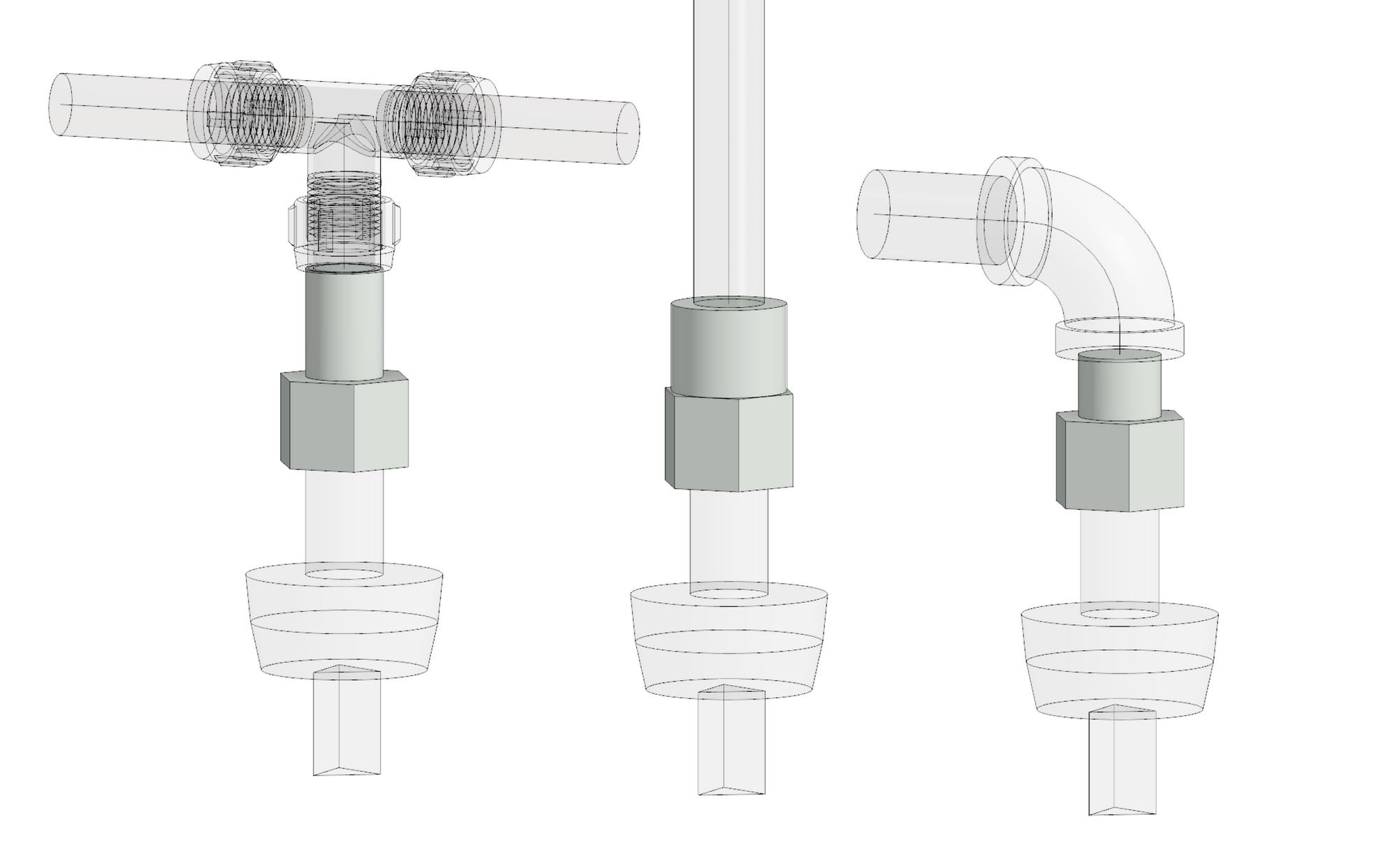 Revit families for compressed spigot, female threaded and male threaded adaptors.