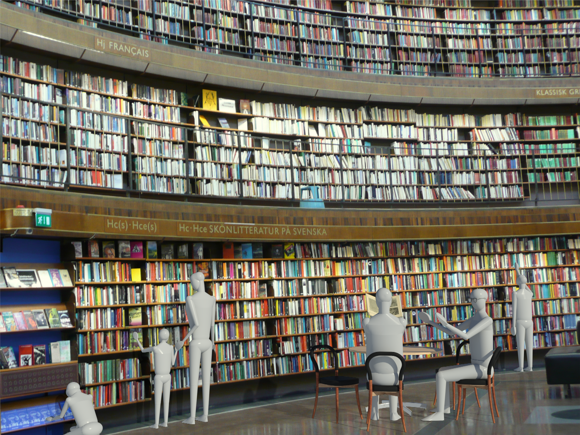 Render in Revit of the Göteborg chairs in the Stockholm Public Library.