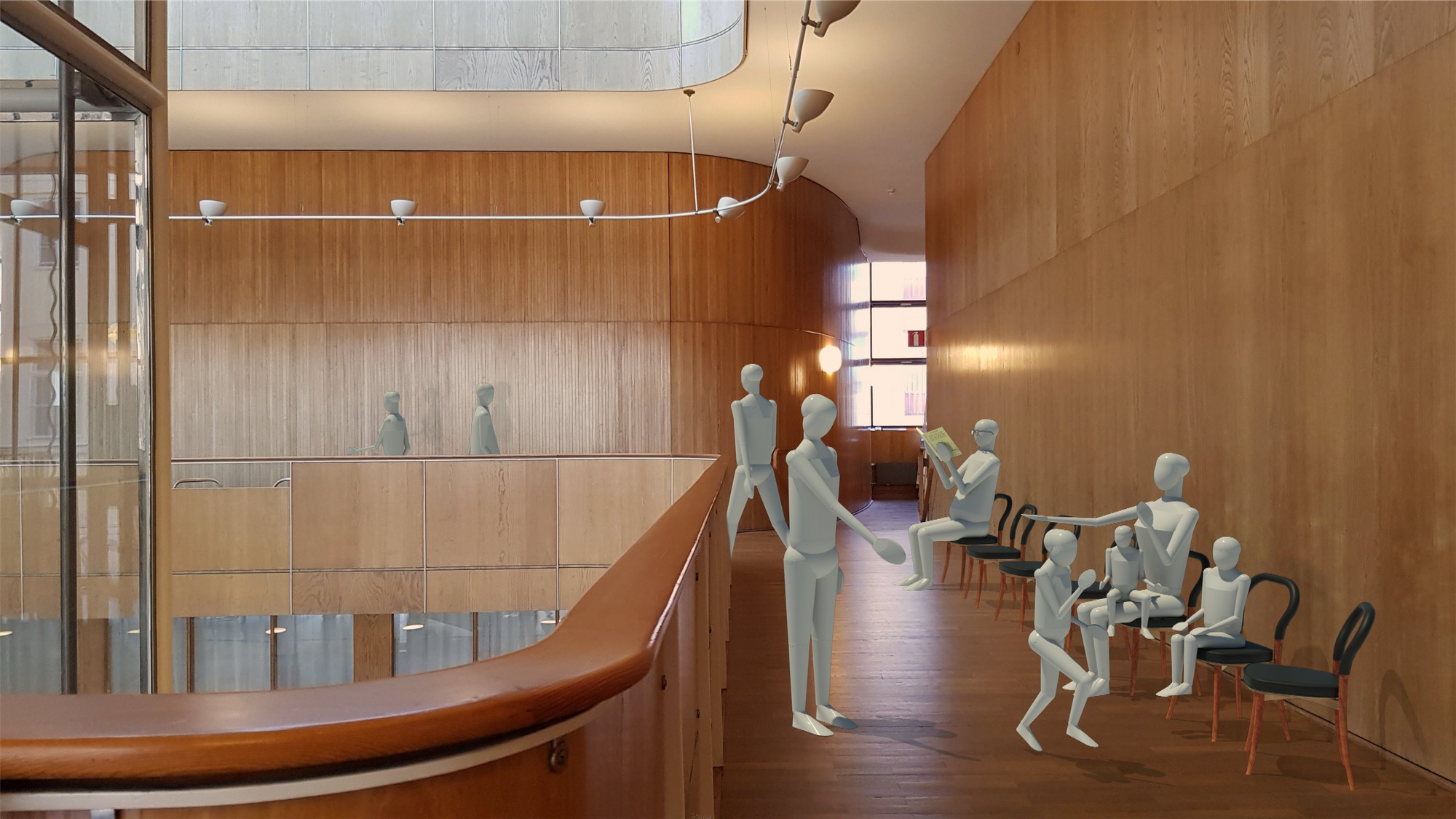 Render in Revit showing the Göteborg chairs in the Gothenburg Town Hall.