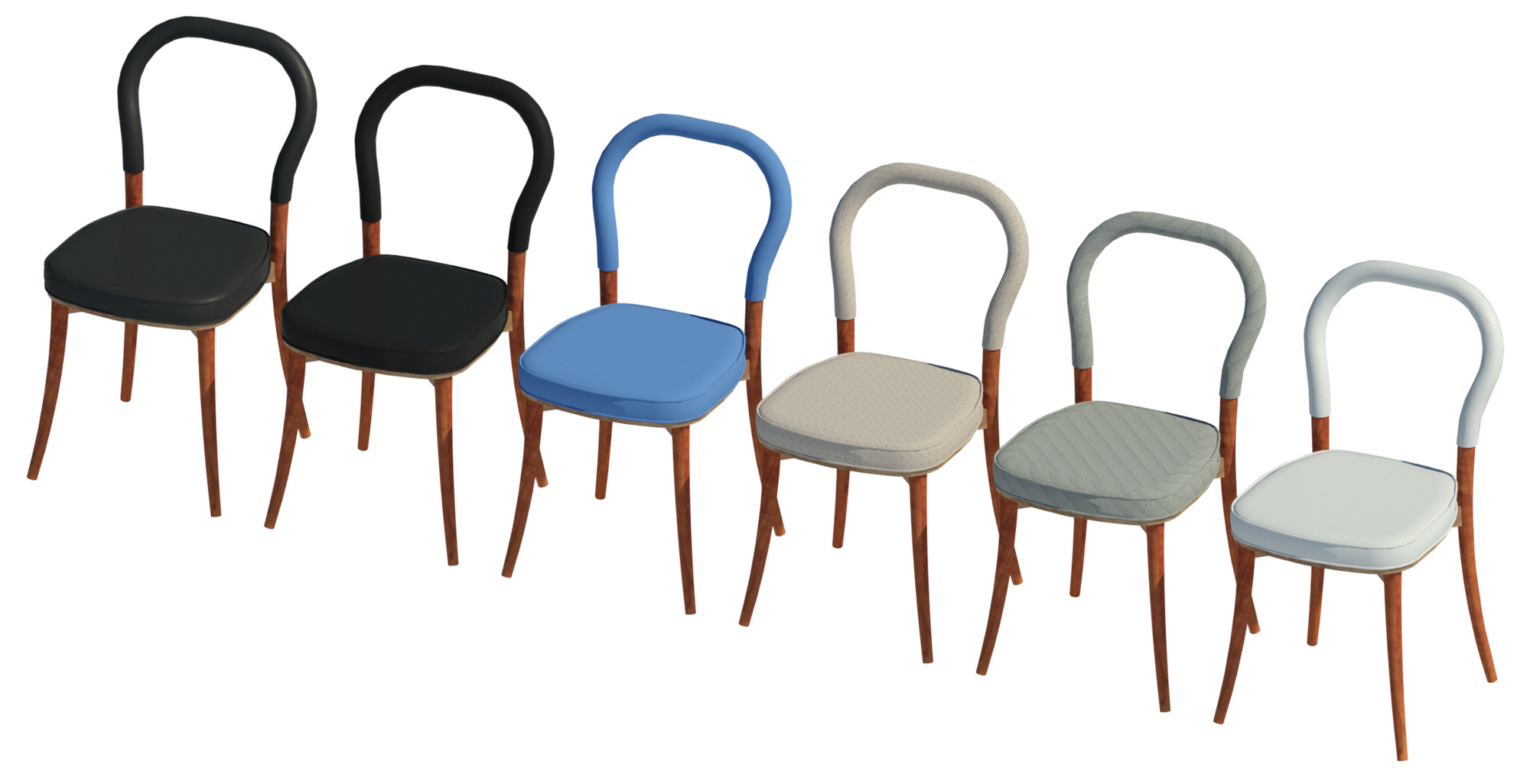 Revit family of the Göteborg Chair showing six upholstery finishes.