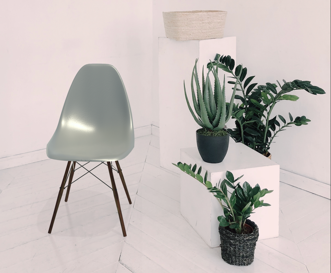 Rendering of the Eames Shell Chair Revit family with surrounding fauna.