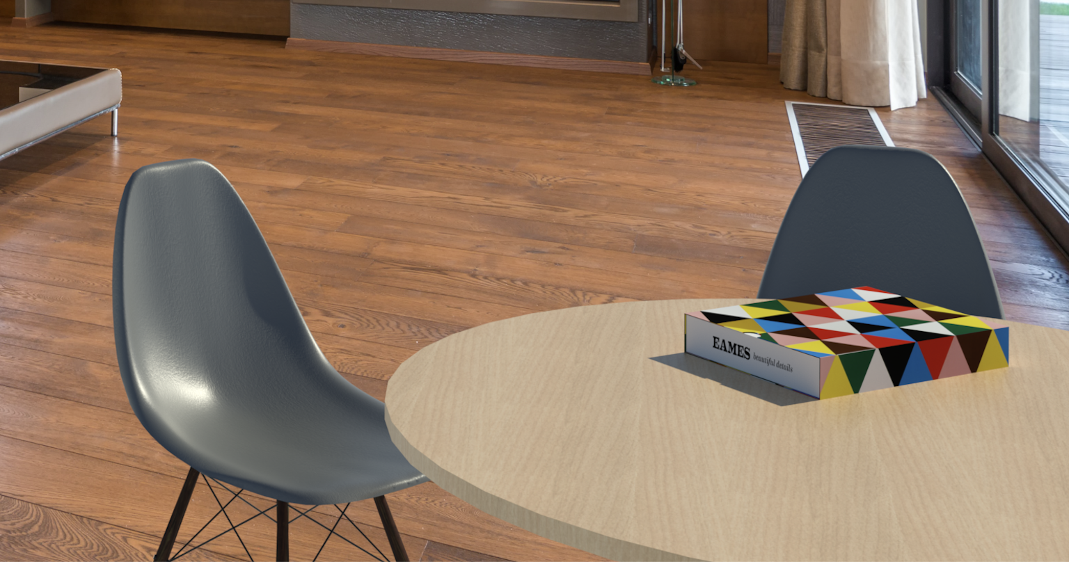 Rendering of the Eames Shell Chair Revit family in a home setting.