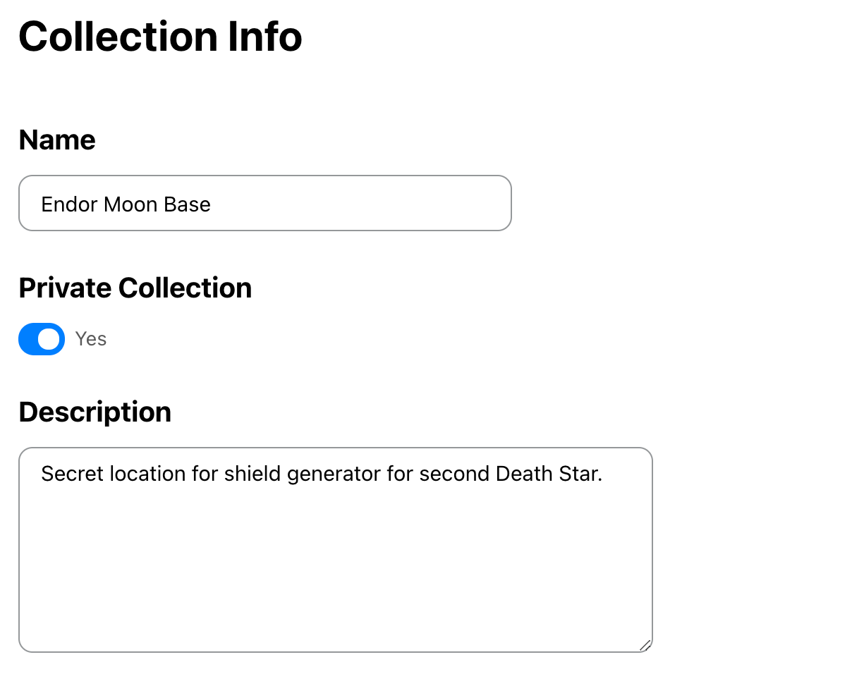 Private Collection setting dialog in Kinship.