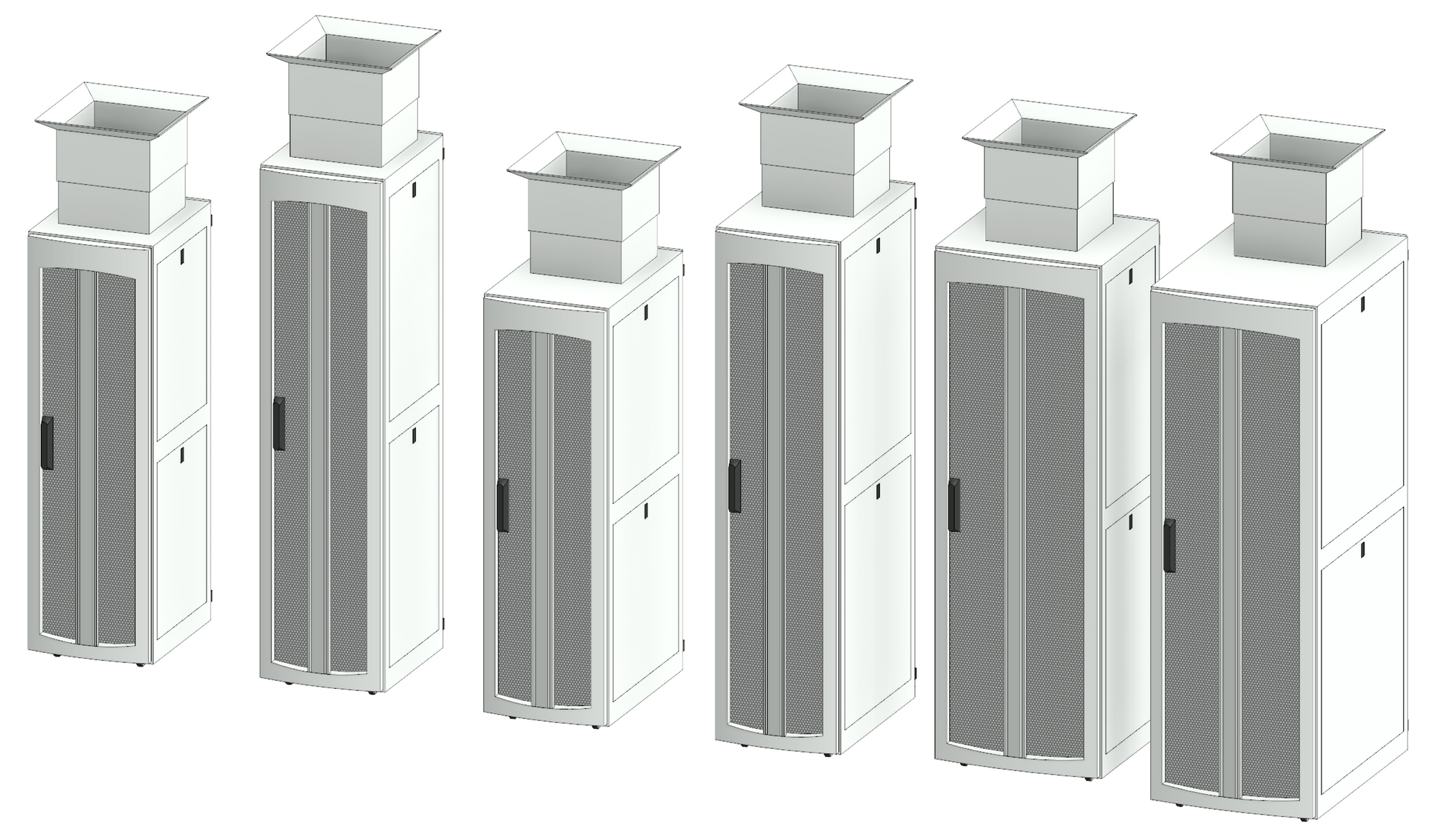 A selection of sizes of the TeraFrame F Series Gen 3 with top exhaust.