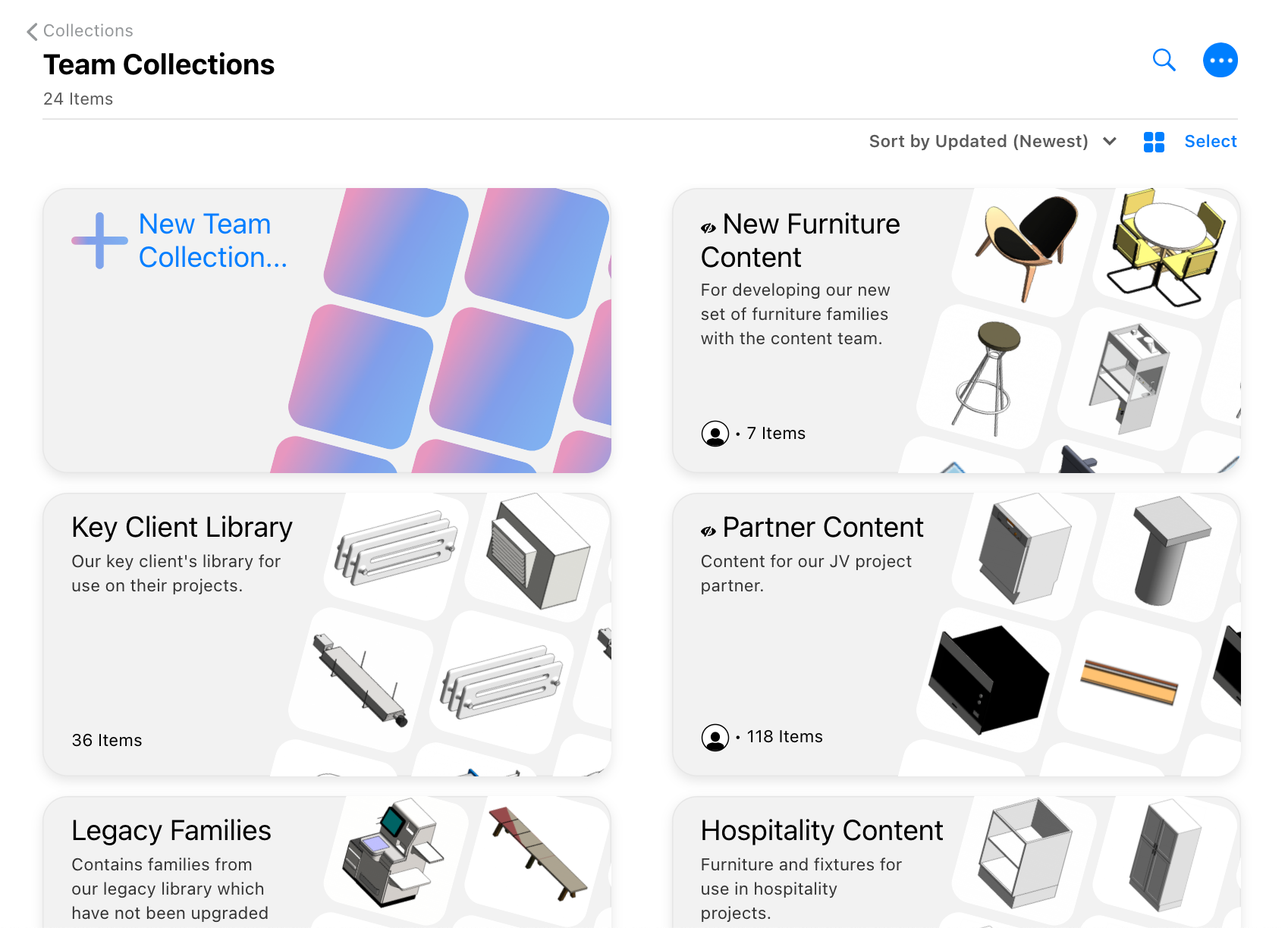 Team Collections landing page in Kinship.