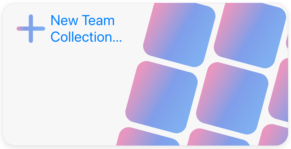 Create new team collection button.