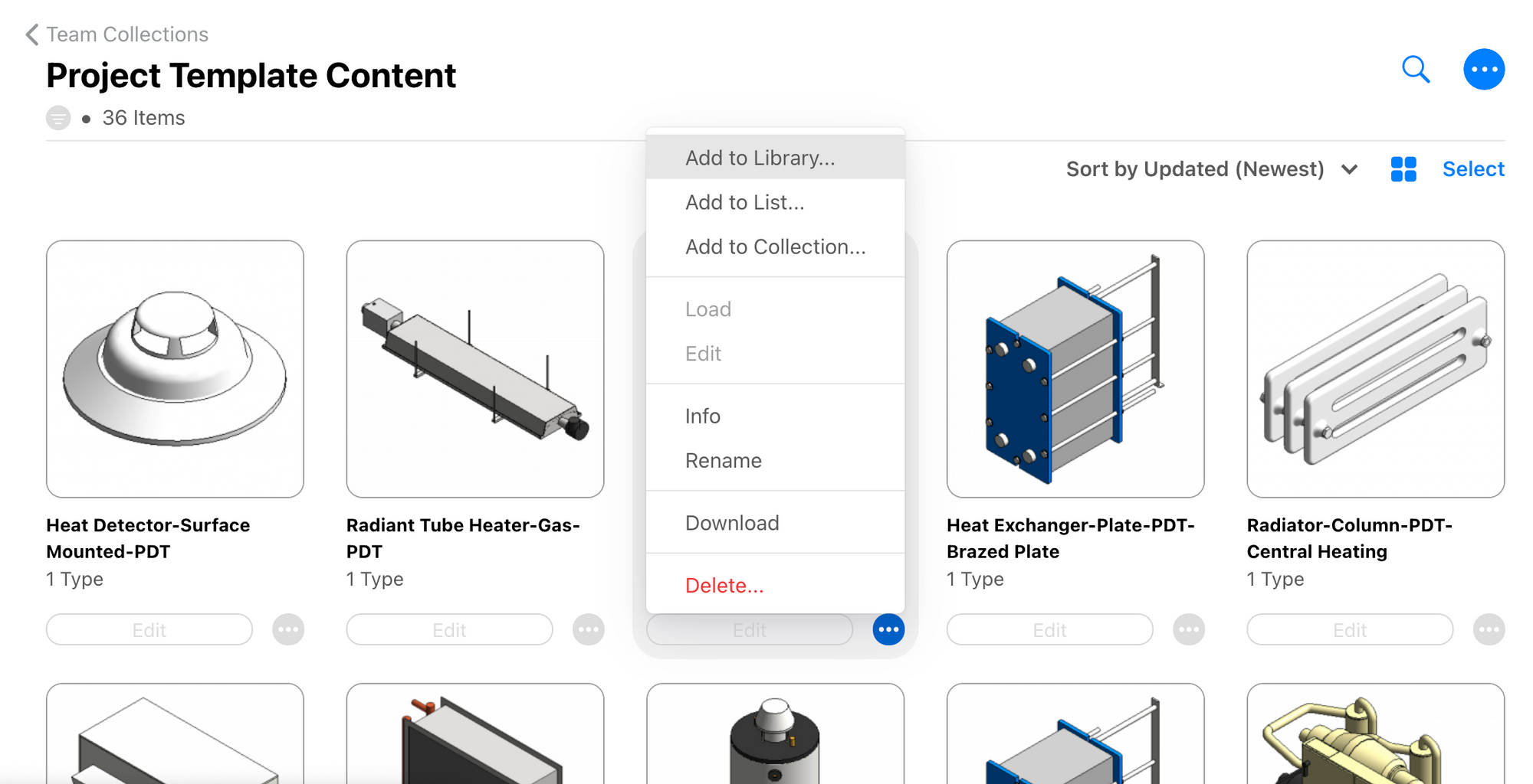 Collection content page showing option to add content to library.