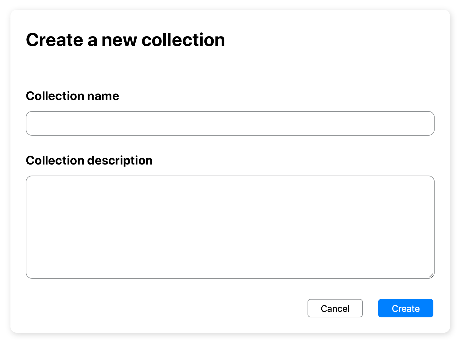 """""""Create a new collection"""" dialog window in Kinship."""