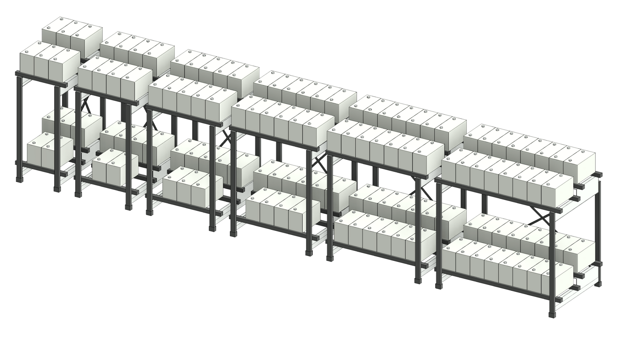Revit 3D view showing some of the available types for the UPS battery rack.