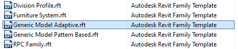 """Select the """"Generic Model Adaptive"""" template for the Revit family."""
