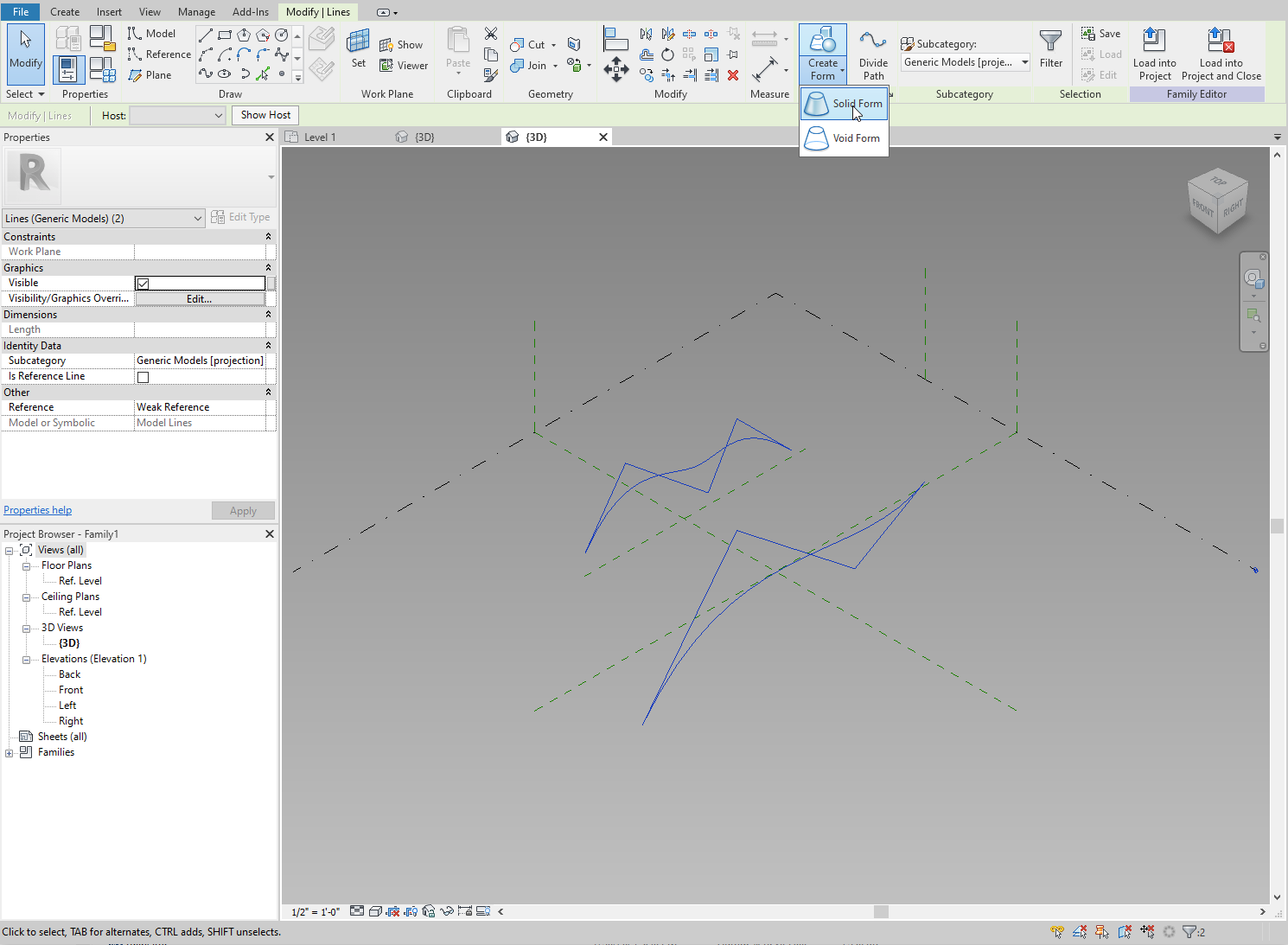 Drawing two splines in the Revit family.