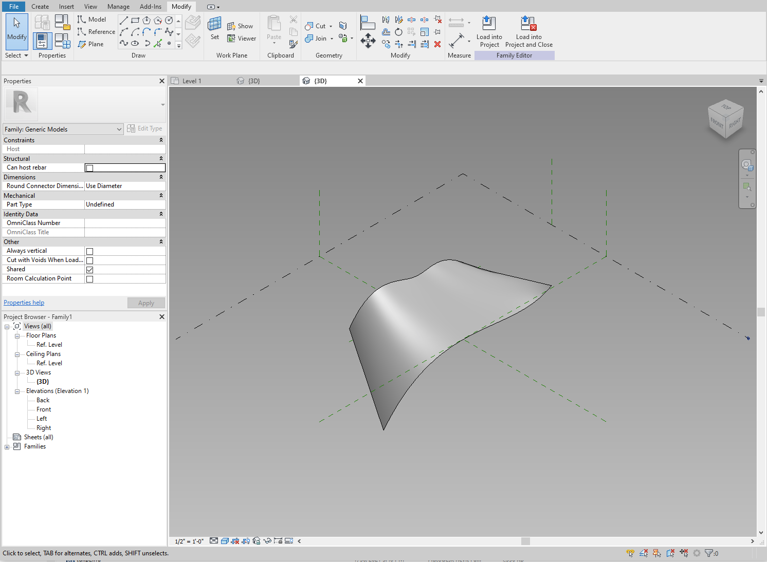 Creating a form from the two splines.