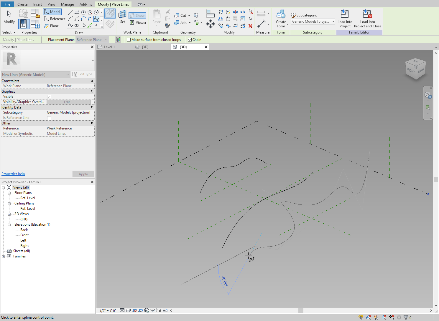 Adding a third more complex profile to the Revit family.