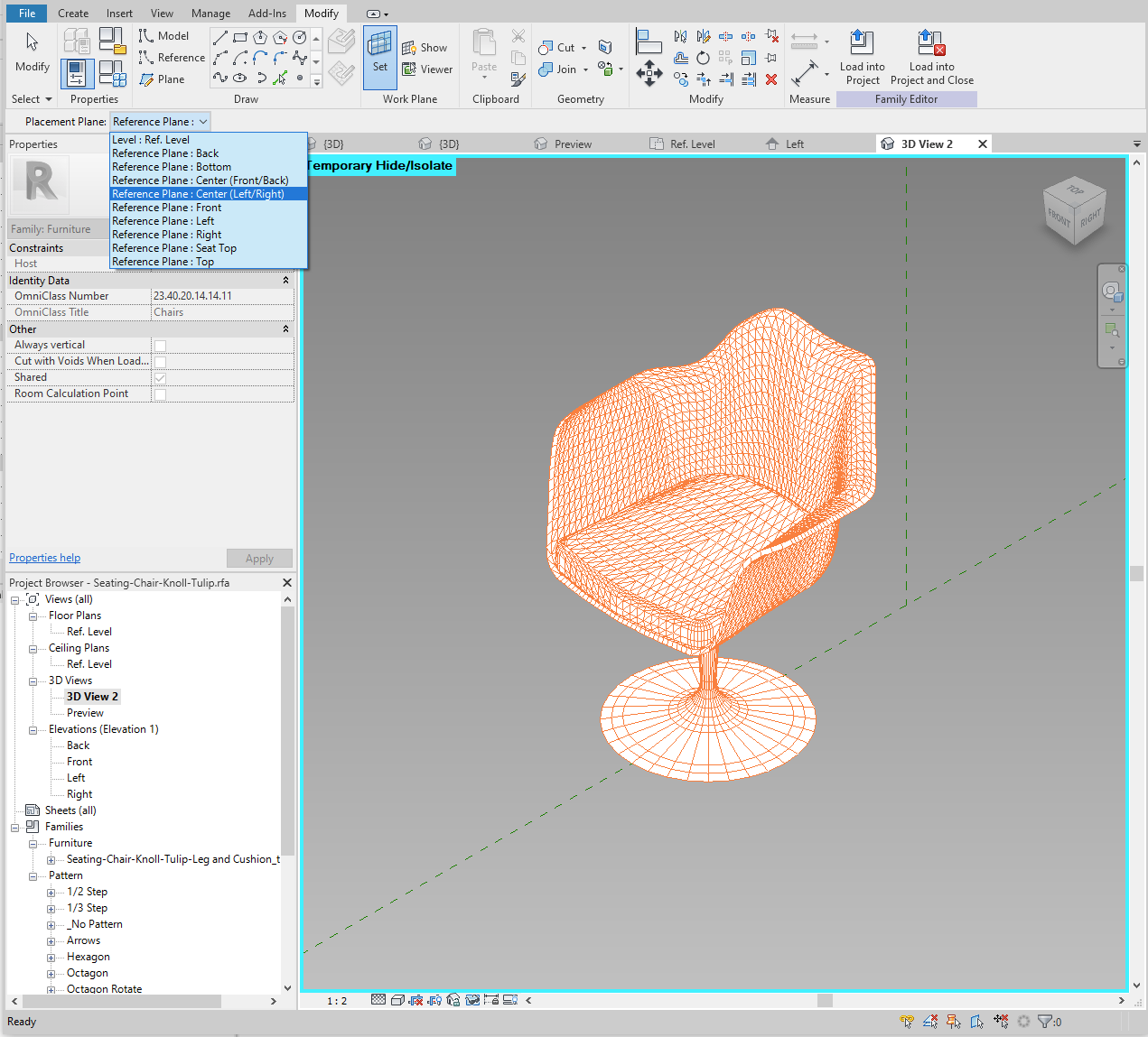 3D CAD geometry inserted into our Revit family.