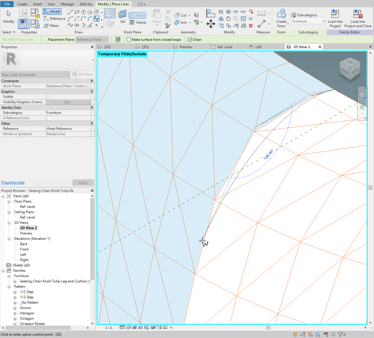 Draw the spline following the intersection of the work plane.