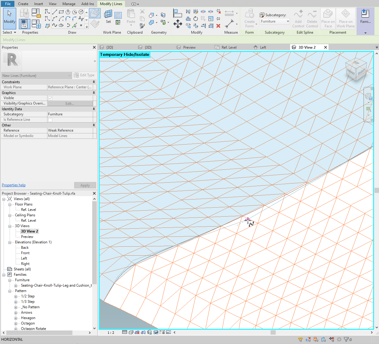 Adjust the spline using the control vertices to follow the intersection as closely as possible.