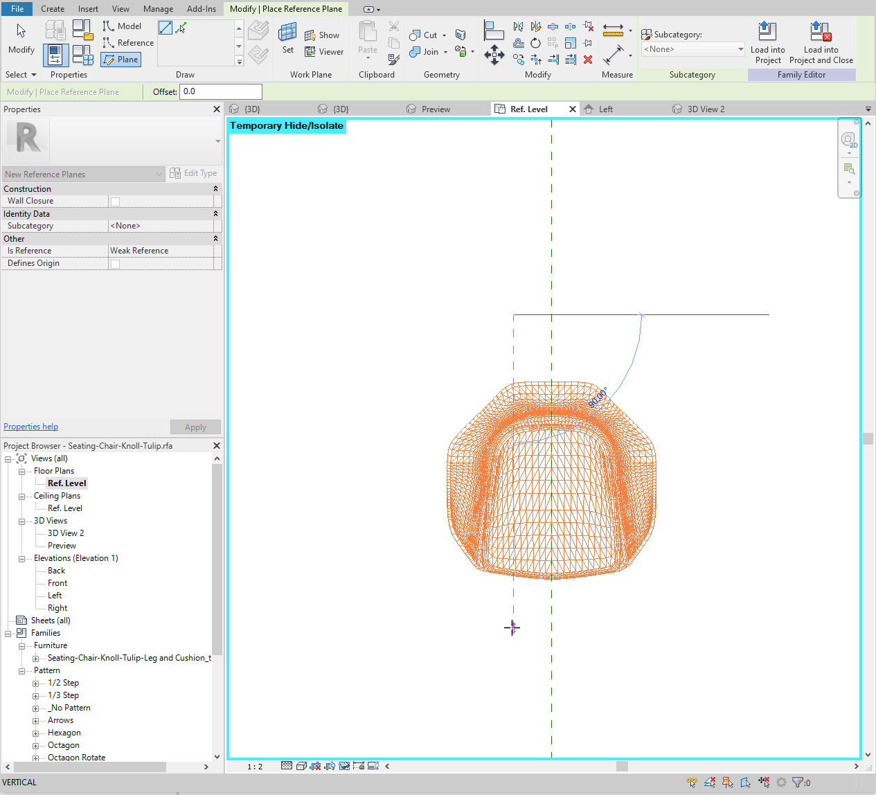 In the Revit family's plan view, draw another reference plane to the left of center.