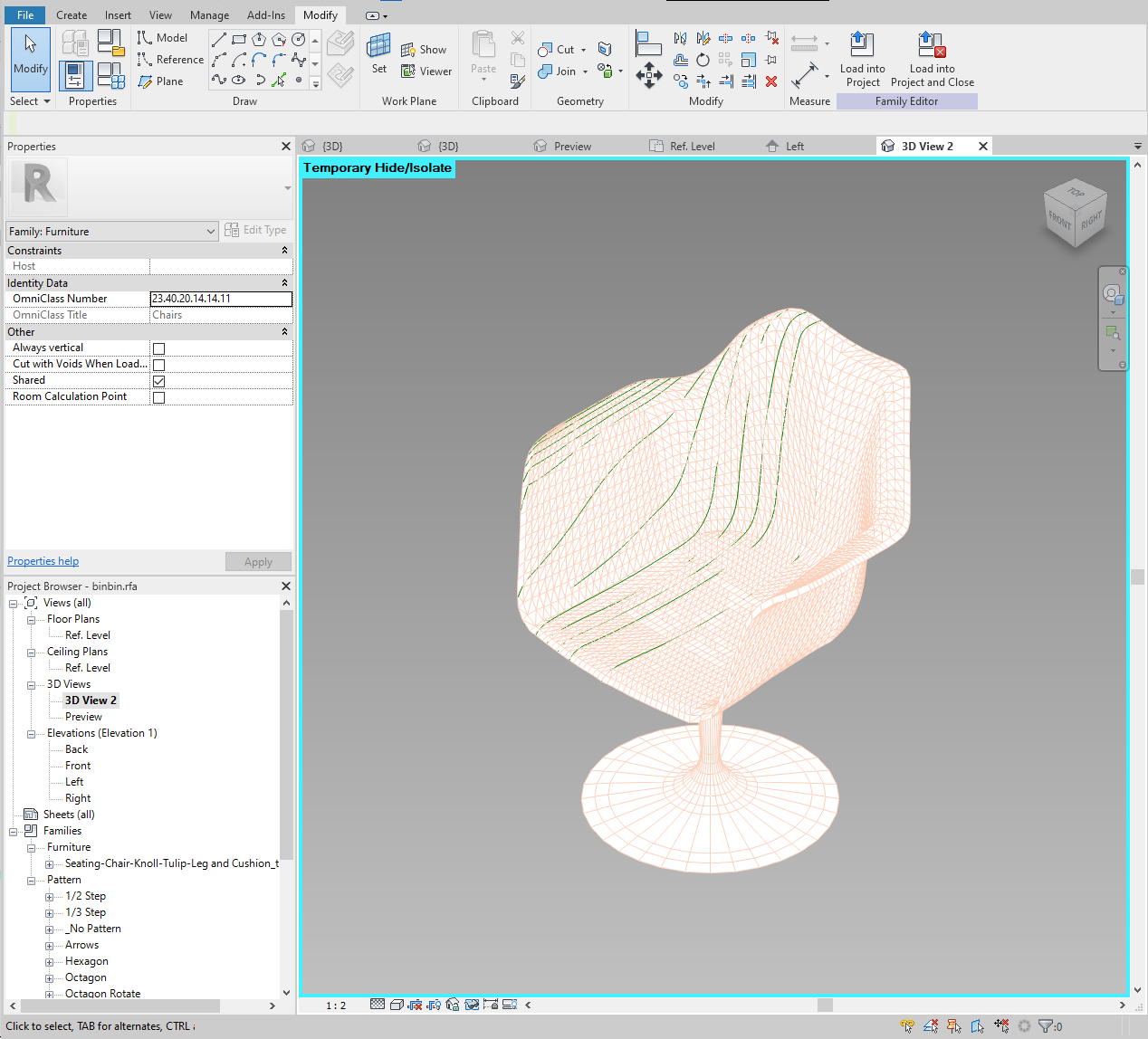 Image of the Revit family with all profiles created on one side.