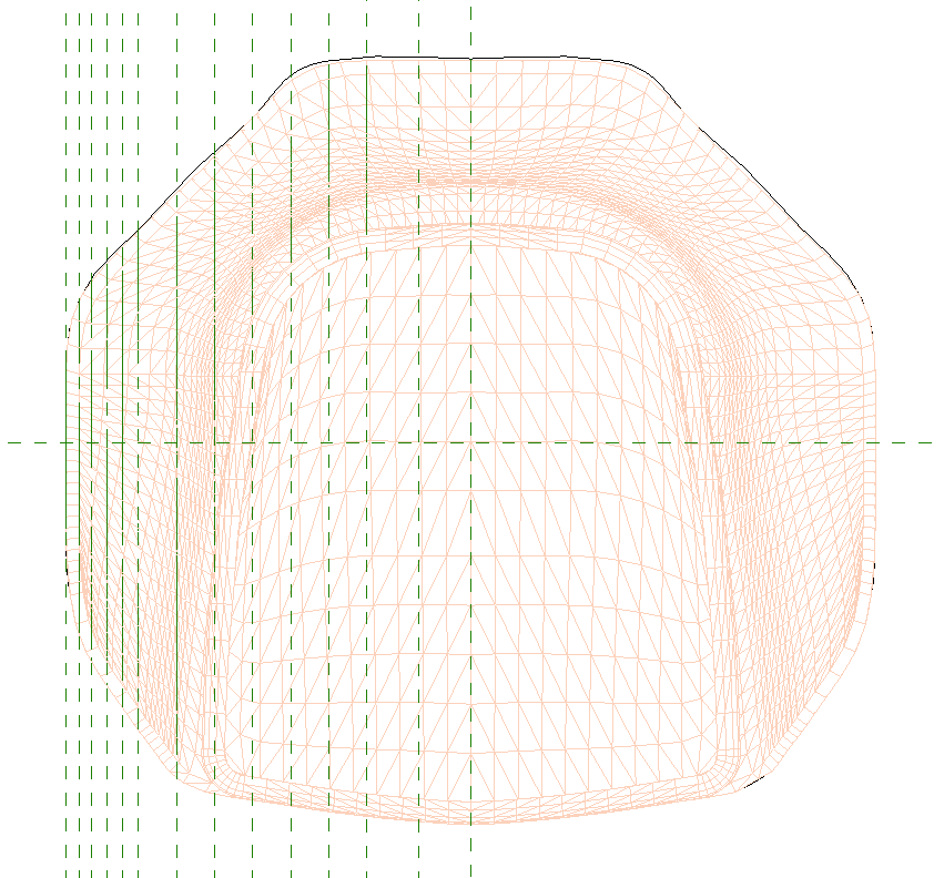 Plan view of the increasing density of profiles from the center to the edge of the Revit family.