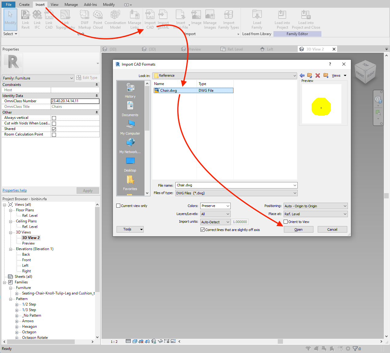 Link the reference 3D CAD geometry to the Revit family.