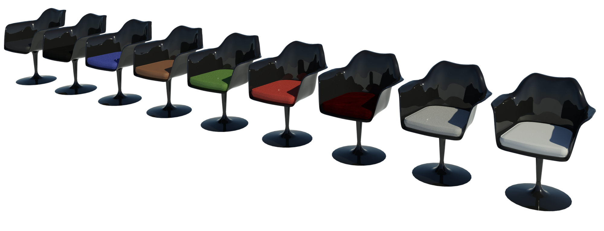 Revit raytrace showing nine black body types of Tulip chair.