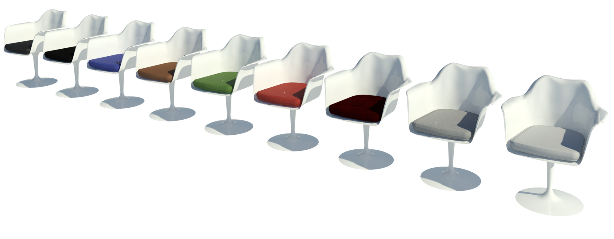 Revit raytrace showing nine white body types of Tulip chair.