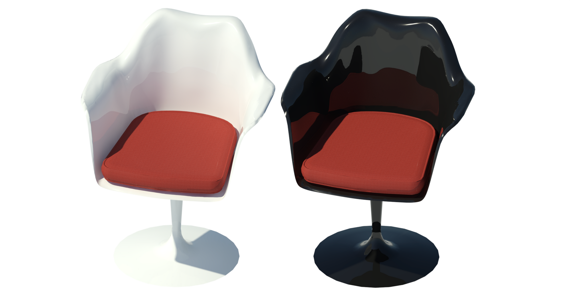 Revit raytrace showing red textile cushion in black and white body variations.