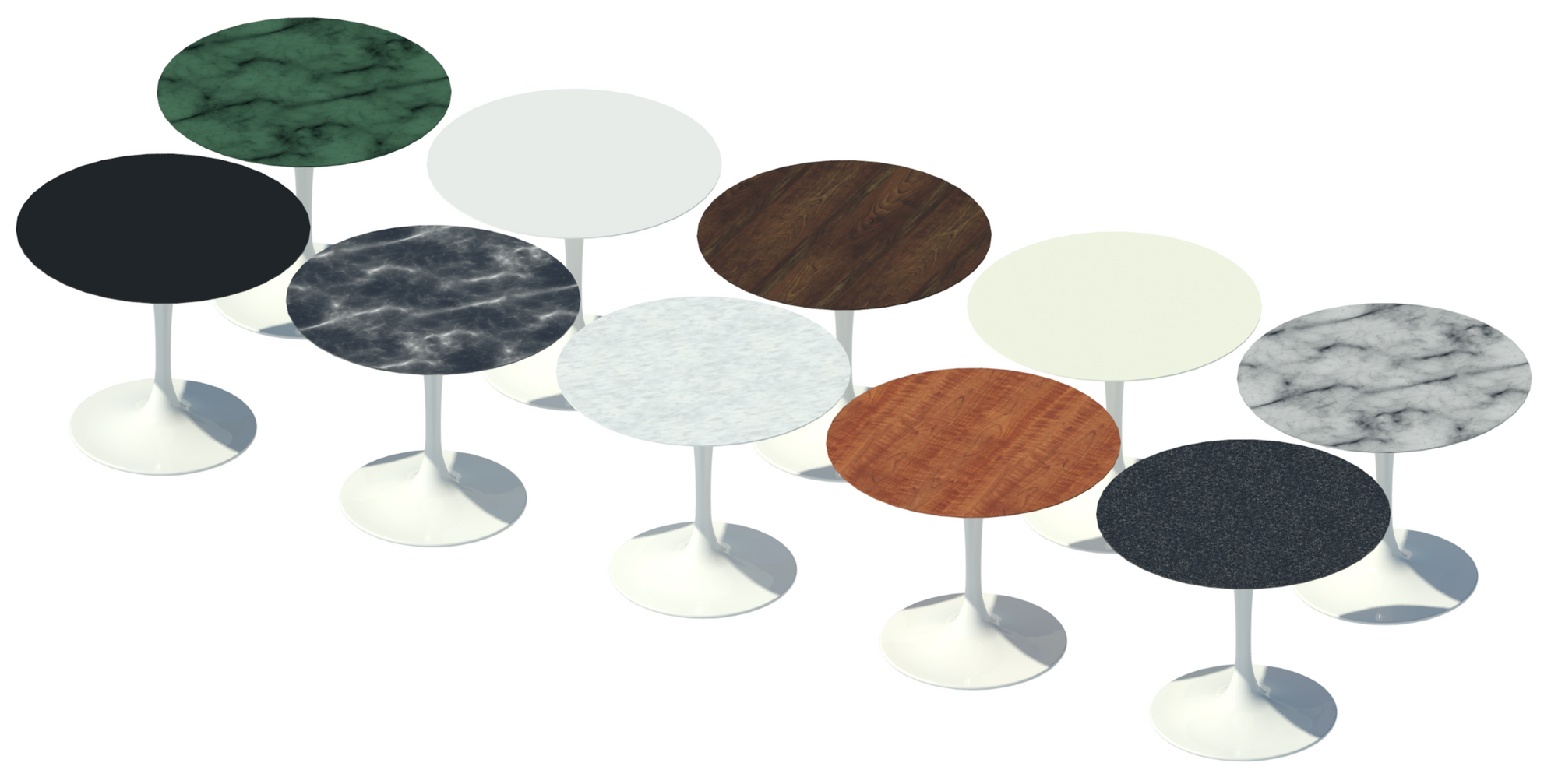 Revit raytrace showing ten table top materials.