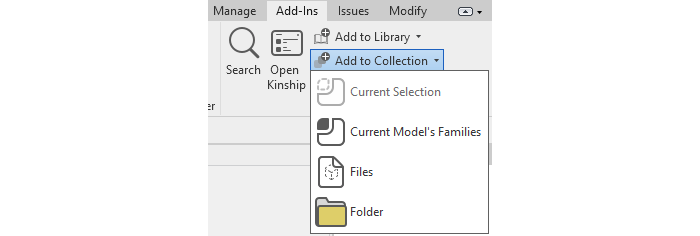 """""""Add to Collection"""" button in the Kinship Revit add-in."""