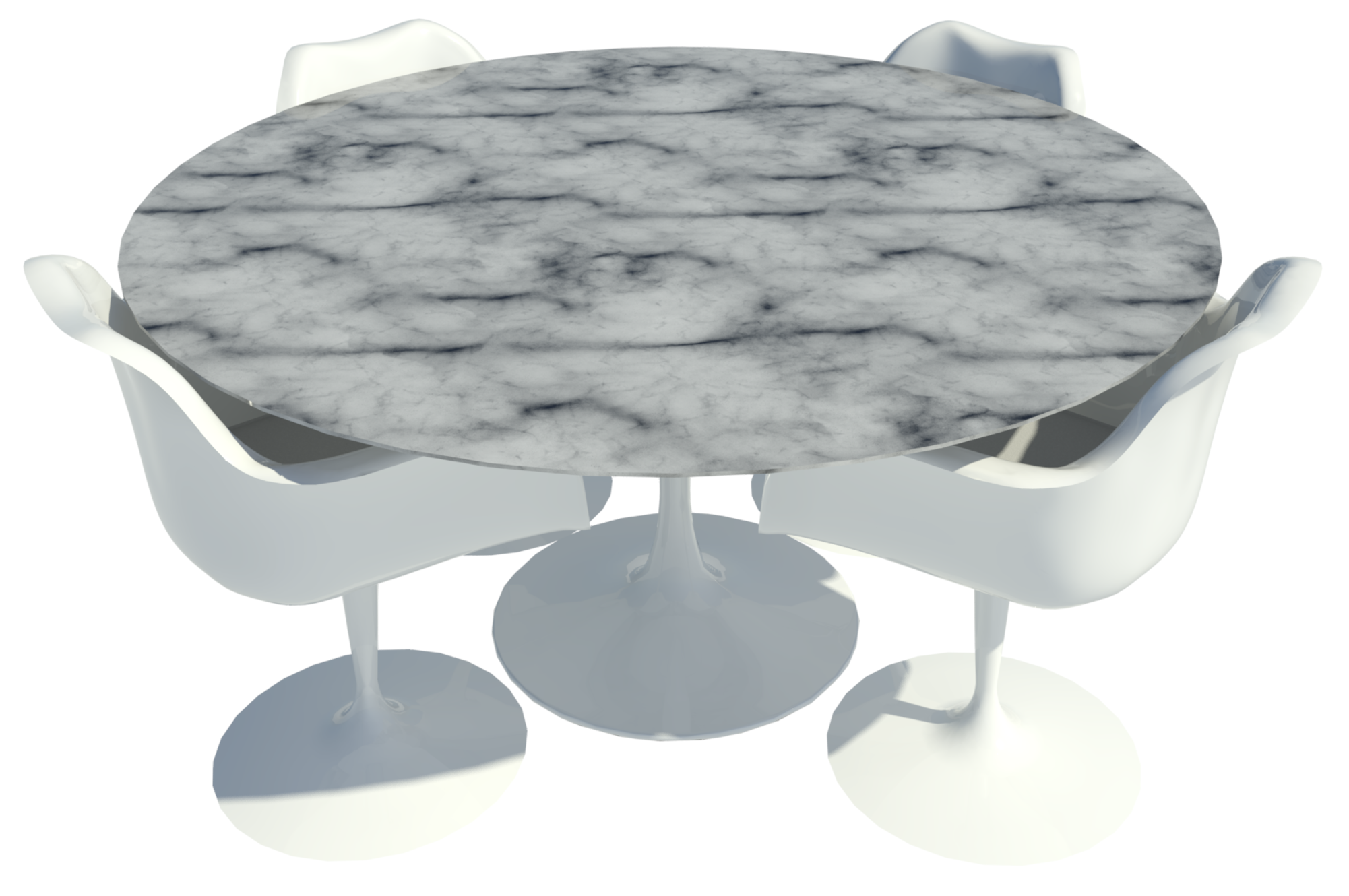 Revit raytrace of Tulip chair and dining table by Eero Saarinen.