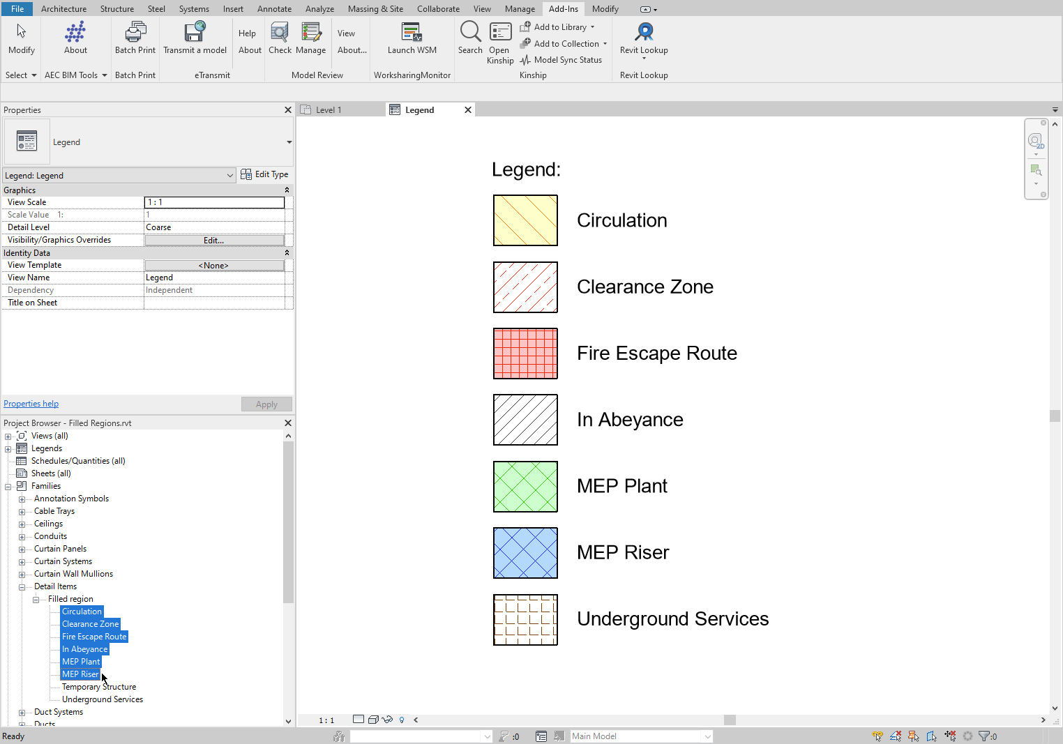 Filled Regions selected in the Revit Project Browser.