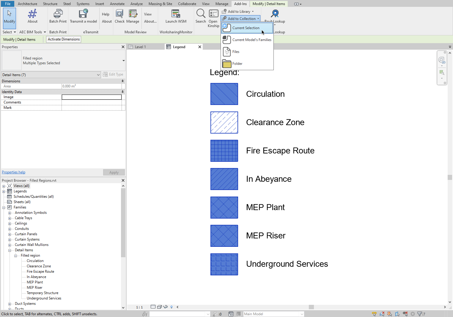 Upload selected Filled Regions to Kinship via the Revit add-in panel.